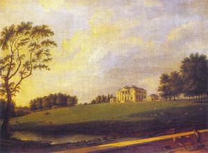 Gezicht op Painshill, huis van Benjamin Bond Hopkins Esq., gezien vanaf Cobham Bridge