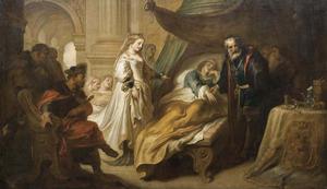 De dokter onthult de ware ziekte van Antiochus, als zijn stiefmoeder Stratonice binnentreed in de ziekenkamer