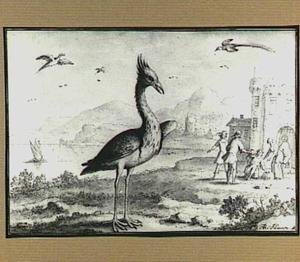 Heuvellandschap met vogels bij een stad aan het water