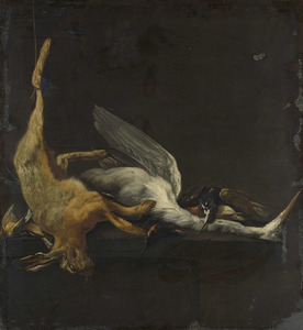 Stilleven met een haas, een reiger en ander gevogelte