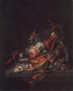 Stilleven met fruit, rozen en oesters