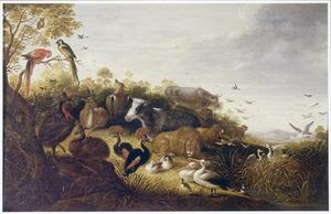 Dierenkoppels in een landschap (voor de zondvloed?)