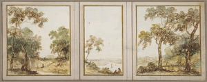 Gedeelte van gangwand met drie behangselvlakken met doorlopend landschap