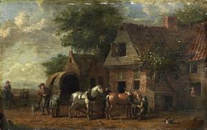 Een huifkar met paardenspan voor een boerderij
