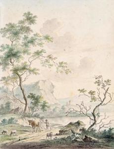 Bergachtig rivierlandschap met herder en vee