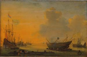 Zicht op een haven met rechts het kalafateren van een fluitschip