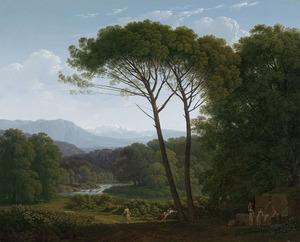 Italiaans landschap met pijnbomen