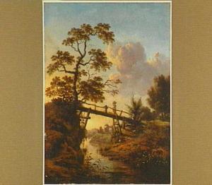 Landschap met een houten brug over een beekje