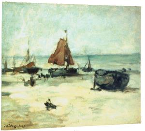 Stil strand met schepen