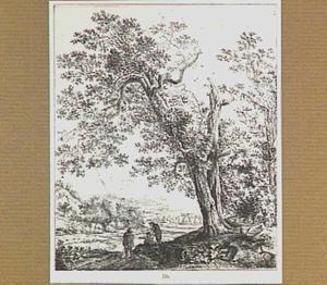 Landschap met figuren bij een oude eik