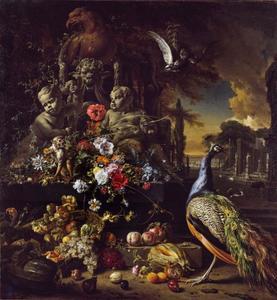 Stilleven in een parklandschap  van een pauw en een aap met bloemen en fruit bij een met putti en een adelaar versierde fontein