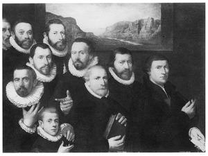 Groepsportret van de mannelijke leden van een onbekende familie