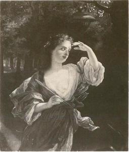 Portret van een jonge vrouw als Diana