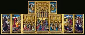 De H. Willem van Maleval met Guillemette de Montaigu, de H. Johannes de Doper met Jean de Gauchy (binnenzijde linkerluik); De gevangenneming, de geseling, de doornenkroning, de kruisiging, de kruisafneming, de graflegging, de opstanding (middendeel); De H. Michael met Michel de Gauchy, de H. Laurentius met Laurette de Jaucourt (binnenzijde rechterluik); Een engel met het wapenschild van Michel de Gauchy (binnenzijde linker bovenluik); Een engel met het wapenschild van Laurette de Jaucourt (binnenzijde rechter bovenluik)