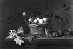 Stilleven met mand met vruchten, tulpen, schelpen, hagedis en insekten op tafel met kleed