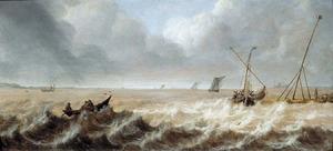 Schepen voor de kust op een ruwe zee