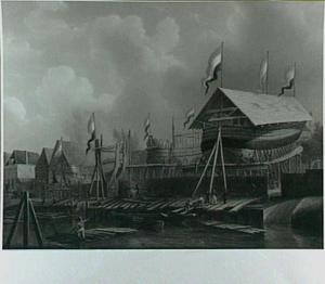 De werf van Jan Schouten aan de Kalkhaven in Dordrecht op 24 augustus 1826, de verjaardag van Koning Willem I