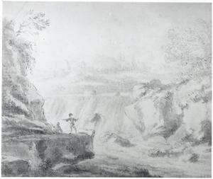 Italianiserend heuvellandschap met waterval