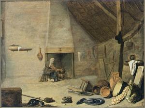 Boereninterieur met vaatwerk en een vrouw bij de haard