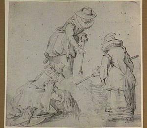 Drie hofdames uit het gevolg van Aartshertogin Isabella Eugenia tijdens het hooien bij kasteel Mariemont