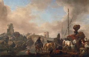 Italianiserend rivierlandschap met paarden en badende figuren