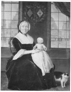 Portret van Maria Mauritia le Leu de Wilhem (?-1799) en Cathrina Charlotta Collot d'Escury (1770-1789), op de achtergrond de Grote markt te Haarlem