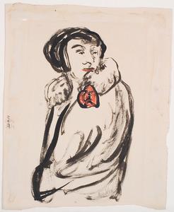 Vrouw in mantel met rode bloem