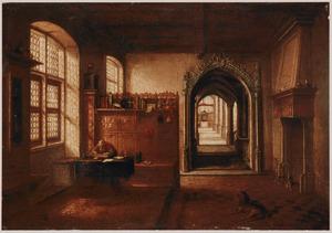 H. Hieronymus in zijn studeerkamer; rechts een doorkijk naar een kapel met een altaar