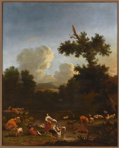 Zuidelijk landschap met wasvrouwen bij een poel aan een bosrand