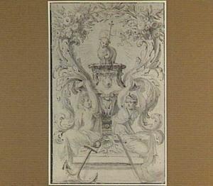 Het Lam Gods op een sokkel in een cartouche; links de Hoop, rechts het Geloof