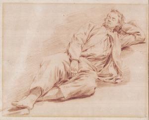 Liggende, slapende jonge man