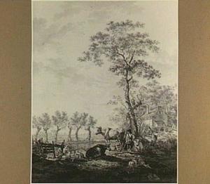 Landschap met herders en vee bij een boerderij