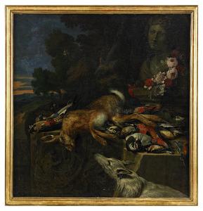Stilleven van jachtbuit en bloemen, met een hond een buste van Diana