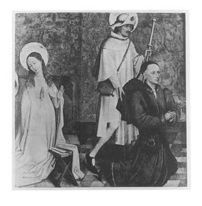 De annunciatie en de H. Jacobus de Meerdere met stichter