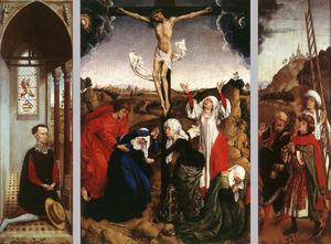 Een lid van de familie De Villa (Oberto de Villa?) (linkerluik), de kruisiging (middenpaneel), Jozef van Arimatea, Nicodemus en een figuur met een ladder komen aanlopen om Christus van het kruis te nemen (rechterluik)