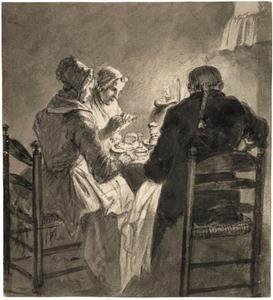 Jacob Nicolaas Elout met zijn dienstboden kreeft etend in de keuken