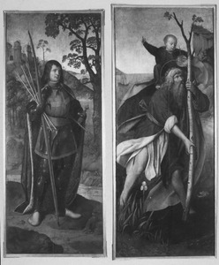De HH. Sebastiaan (links) en Christoforus (rechts)