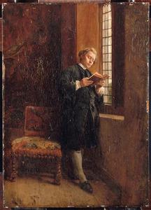 Staande man, lezend voor het raam