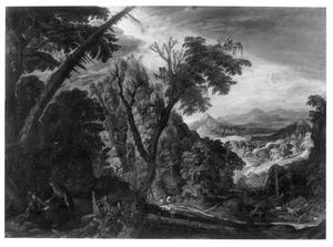 Panoramisch berglandschap met de verzoeking van Christus