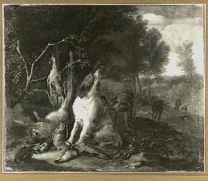 Honden bewaken jachtbuit met haas en gevogelte; rechts in de achtergrond een jager