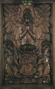 Angel with folded hands above the Netherlands coat of arms