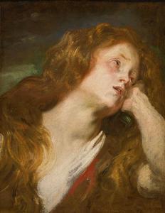 Jonge vrouw, op haar hand leunend