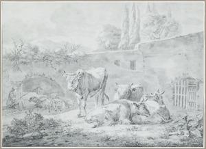 Herders met vee bij een muur in landschap