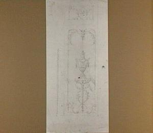 Ontwerp voor een wanddecoratie met een vaas op een piëdestal