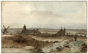 Gezicht op Kleef vanaf een heuvel in het zuiden met op de voor-en achtergrond de Rijn