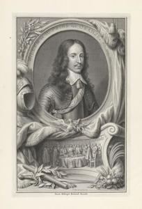 Portret van Willem II van Oranje-Nassau (1626-1650); het tekenen van de Vrede van Münster in een cartouche