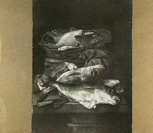 Visstilleven met schollen in mand, met daarvóór kabeljauw en een krab en een mes