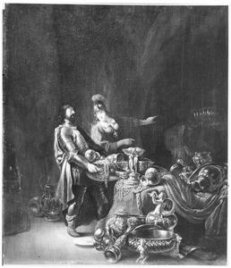 Odysseus en Athena verbergen de Trojaanse buit in een grot bij Ithaka