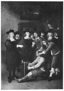 Portret van het chirurgijnsgilde met in de voorgrond een operatie