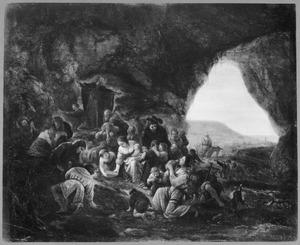 Mozes slaat water uit de rots, zodat het volk zijn dorst kan lessen  (Exodus 7:6-7; Numeri 20:2-13)